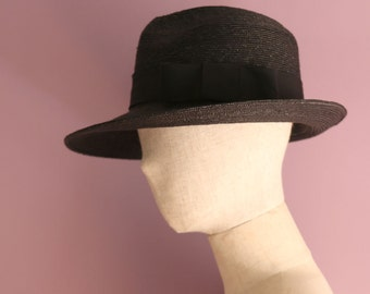 "Black Straw Trilby Hat ""Michel"""