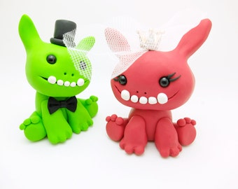 Monster couple wedding cake toppers