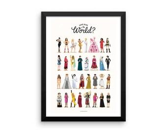 FRAMED Who Run the World Music Poster, The Future is Female Print, Queen B Gift for Her, Fun Pop Art Wall Art, Feminism Art Print