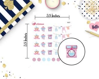 Laundry Stickers - Kawaii Stickers - Kawaii Laundry Stickers - Task Stickers - Chore Stickers - Planner Stickers - Happy Planner - ECLP