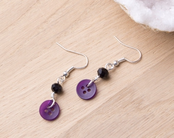 Purple button earrings with black beads | Button jewellery | Button jewelry | Sewing gift buttons | Quirky earrings | Purple earrings