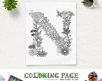 Instant Download Printable Coloring Page Floral Alphabet Letter N Digital Art Zen Pages Adult Anti Stress Therapy