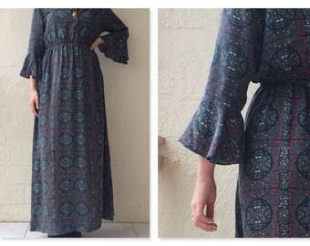 Grungy Boho Aztec Print Bell Sleeve Maxi Dress / small / medium / hippy / tribal / grunge / gypsy