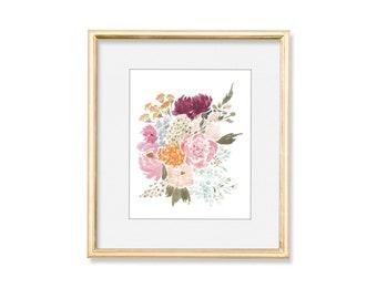 Adoption Floral // Original Watercolor Bouquet Art Print Home Decor, 5 x 7, 8 x 10