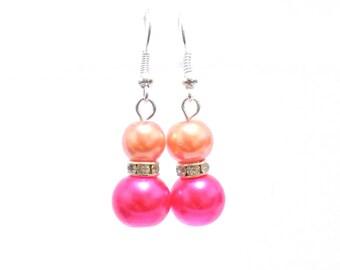 pink and orange earrings, pearl earrings, pink earrings, orange dangle earrings, earrings, bridesmaid earrings, drop earrings