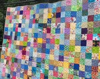 Patchwork Quilts - Full/Double Bed Quilts - Picnic Quilts - Quilts Queen Bed - Cotton Handmade Quilts - Anniversary Gifts