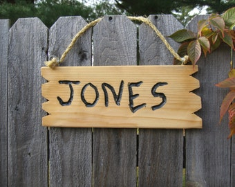 """Rustic hand carved cedar wood name sign"""" Jones""""home and living home decor custom sign personalized sign"""