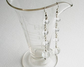 Silver Statement Earrings Vintage Crystal Beads Hollywood Glamour