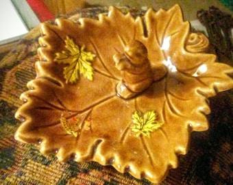 Sale-Vintage Shafford Canada Souvenir Beaver Squirrel Trinket Dish