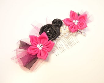 Pink and Black Flower Girl, Bridesmaid flower Crystals and Pearls Wedding Hair Accessory. Sweet 16 Customize your color