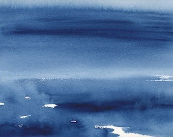 Original Watercolour Painting, Somewhere Between Water and Sky, Abstract Waterscape, Blue