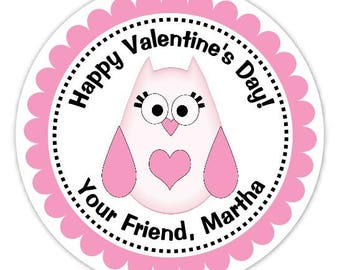 Custom Owl Valentine's Day Labels, Valentine's Day Stickers - 2.5 inch round - Personalized Children's Stickers