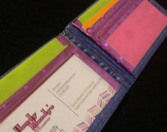 Denim Pink and Green Bi-fold/ Billfold Wallet Gift