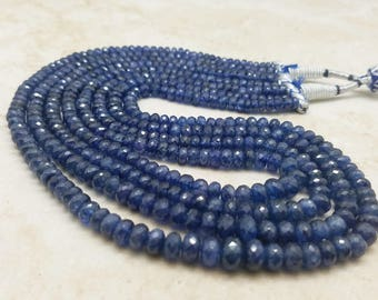 5 - 8mm Blue Kyanite Faceted Rondelle Necklace, 17 Inch