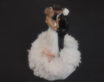 Wedding Cake Topper Bride Groom White Choose Hair Pig and Flower Colors