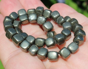 Square color Pyrite 6 X 6 X 6 MM Pyrite beads.