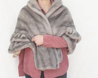 Vintage 40s-50s Faux Fur Wrap/Stole/Retro/Mid Century