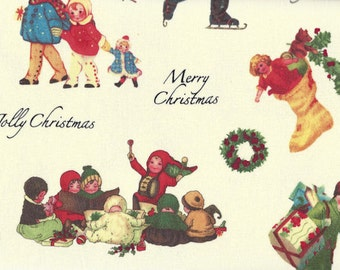 Marcus Quilt Fabric - A Jolly Christmas - Designer Edelen Wille - White Background - By The Yard