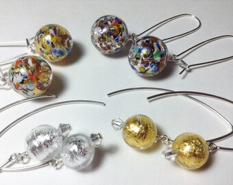 Golden Globes Debut Earrings--by Lady Grey Beads--Round Silver Gold Multicolor Venetian Glass Earrings on long Sterling Silver Kidney Hooks