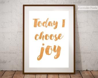 Choose joy print, gold art print, gold typography, inspirational quote art, joy wall decor, typography wall art, joy art, instant download