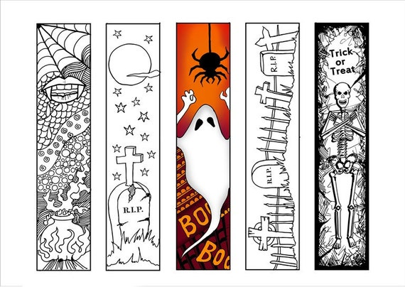 Halloween bookmarks adult coloring page Halloween coloring