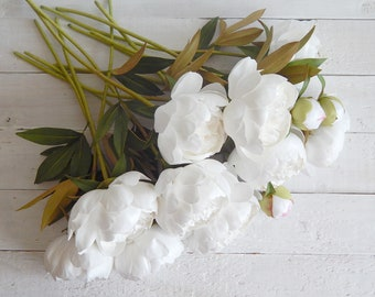 White real touch flower peony Wedding bouquet Fake peonies Artificial flowers in vase Faux flower stem Peony arrangement Table centerpiece