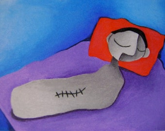 Original Drawing  ACEO Colored Pencil Man on Bed With Stitches