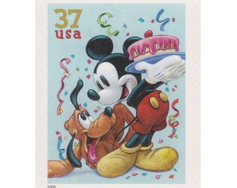 5 Unused US Postage Stamps - 2005 34c Disney Series - Mickey Mouse and Pluto - Item No. 3912
