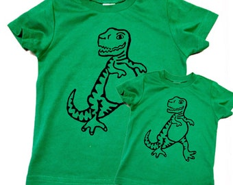 Father's Day matching shirts Set green tyrannosaurus rex dinosaur t-rex Mens Boys baby Infant Tshirt father son child kids daughter girl dad