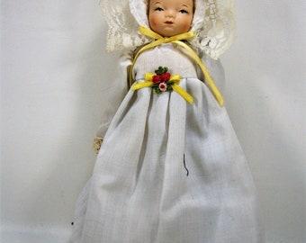 """Schmid Porcelain Doll,  Christening Doll, Collectible Christmas Ornament, Porcelain Doll Ornament, 7 1/2"""" tall, 1980's"""
