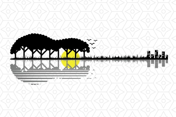 Guitar Lake Decal Svg Dxf And Ai Vector Files For Use With