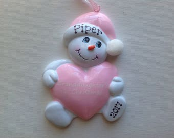 Personalized Pink Heart SnowBaby Granddaughter's  First Christmas Ornament Gift Newborn, Birth Announcement , Christening Favor