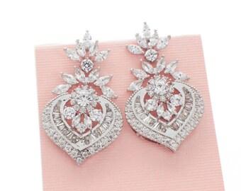 Art Deco bridal earrings, bridal wedding jewelry, wedding earrings, crystal earrings, CZ earrings, statement earrings, vintage style earring