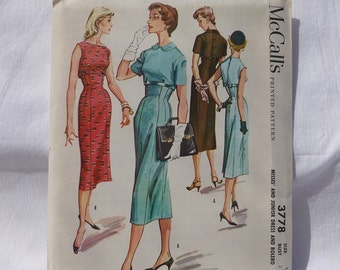 McCalls Pattern #3778 Uncut~~Misses & Junior Dress and Bolero~Size 11/Bust 31 1/2~Copyright 1956~~Wiggle Dress Pattern~~Fitted Dress Pattern