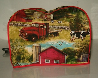 4  Slice Toaster Cover, Barn  Yard, cows, Red Green