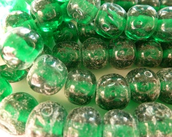 12 Vintage 11 to 12mm Gorgeous Emerald Green Transparent Dimpled Baroque Japan Beads C42