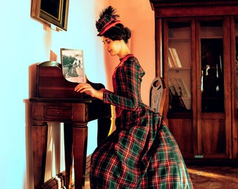 Victorian Walking Dress, Bustle Era Plaid Costume, 1880s Day Dress