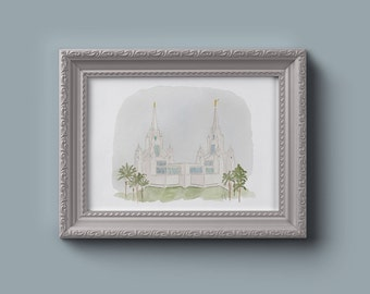 San Diego LDS Temple Watercolor Print