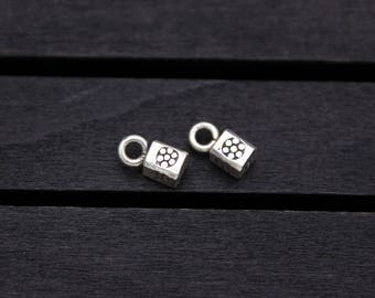 2 Sterling Silver Flower Cube charm,Silver cube Pendant, Silver flower charm,for bracelet and necklace charms