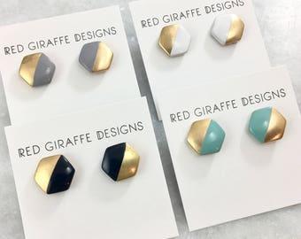 Enamel Hexagon Stud Earrings | Hand Painted | Vintage Brass Studs | Stainless Steel Posts