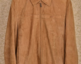 Men's Hugo Boss classic suede leather jacket coat size 48