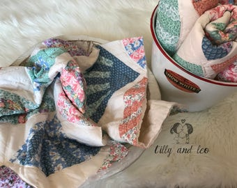 SALE Vintage Quilt Squares/Baby Photo Prop Vintage Quilt/Newborn Shabby Chic Quilt Squares/Pastel Quilt Squares/Baby Basket Stuffer