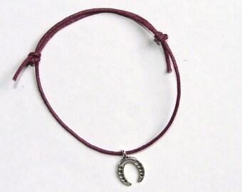 horseshoe silver charm on waxed cotton cord adjustable friendship bracelet