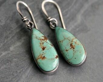 Turquoise Teardrop Sterling Silver Earrings One of a Kind Cabochon Gemstone Earring Dangle Drop Earring Summer Festival Southwest Desert Gem