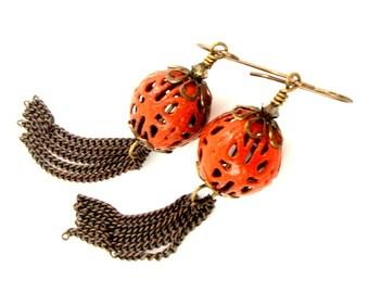 Bright Orange Earrings, Long Earrings, Fringe Earrings, Enamel Earrings, Dangle Earrings, Antique Brass Earrings, Shoulder Dusters,
