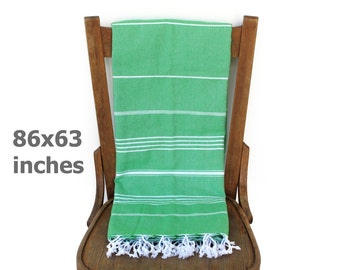 Throw Blanket Bedspread Beach Blanket Cotton Sofa Cover Turkish Bath Towel Tablecloth Picnic Blanket Green XX LARGE220 x 160 cm