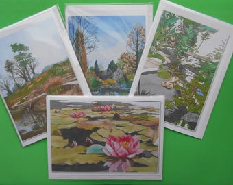 4 Greetings Cards of Scenes from Wisley Gardens