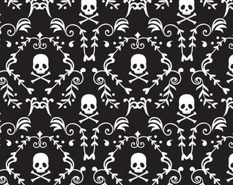 Punk Rock Damask, Skulls, Skull & Crossbones, Black and White - 100% Cotton, By the Half Yard