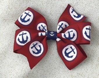 Red and Navy Anchor pinwheel Nautical Hair Bow