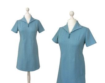 Powder Blue 1970's Dress | Vintage Mini Dress | Pull On Scooter Dress